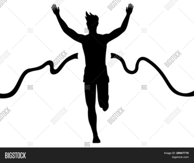 Egy futó épp átszakítja a célszalagot